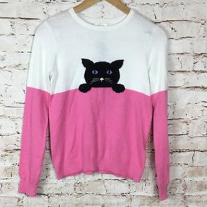 kate spade new york Intarsia Cat Sweater L 12y